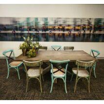 Sasa tölgyfa étkezőasztal csillag alakú falábbal - lavintagehome.hu