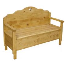 Rusztikus kétszemélyes fenyőfa ülőpad tárolóval