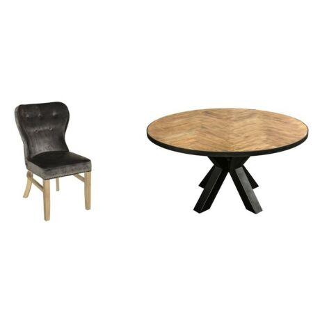 6személyes Wales tölgy kerek asztal Genesis székkel-lavintagehome.hu