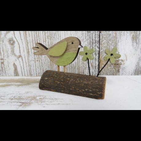 Madár fatalpon fából dekoráció