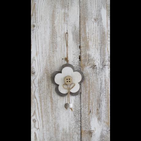 Akasztós virág gombbal fából 12 cm