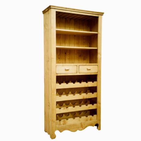 Karina rusztikus fenyőfa bortartó szekrény - lavintagehome.hu