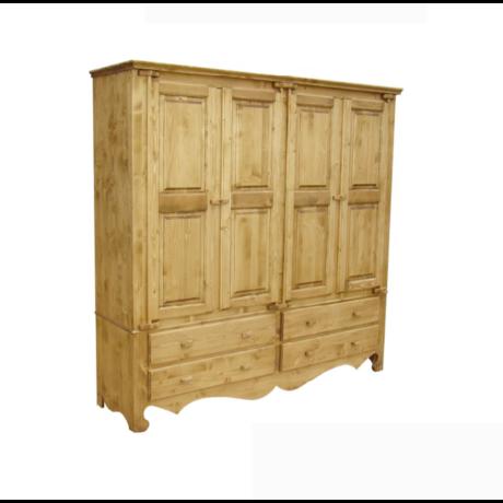 Karina rusztikus fenyőfa ruhásszekrény 4 ajtós - lavintagehome.hu