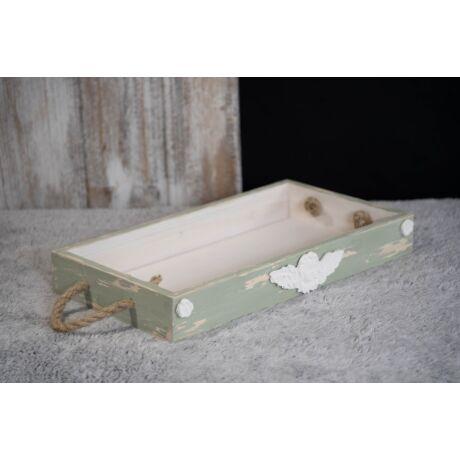 Tömörfa vintage tálca angyalka dísszel zöld színű